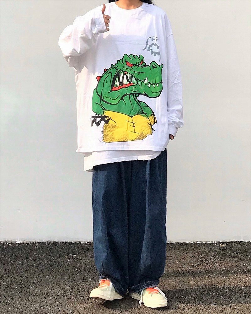 《2色》アングリーワニロングオーバーサイズTシャツの画像3